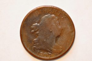 1807 1/2 C DOUBLE STRUCK ON A ROTATION 15% REV BROCKAGE MAKER DAVY COLLECTION