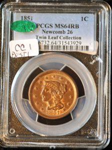 1851 1C Newcomb 26 MS64RB PCGS
