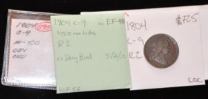 1804 1/2 Cent C-9 R2, Very nicely toned great color and surfaces. Manley 5.0 CUD