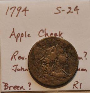 1794 1c LIBERTY CAP S-24 LDS APPLE CHEEK REVERSE CUD BREEN / PLATE COIN. Ex Heck